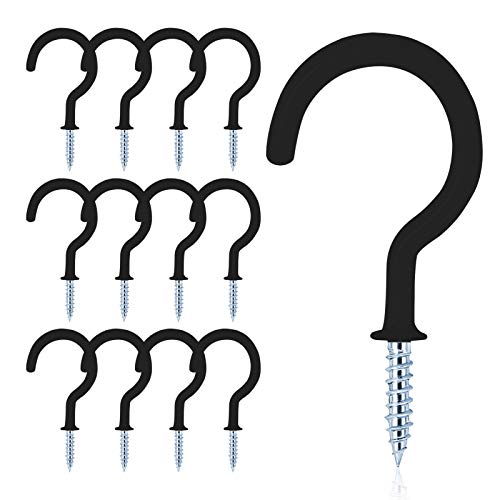 MJIYA 12 PCS Vinyl Coated Ceiling Hooks Question Mark Shape Hook Heavy Duty Screw Cup Hook for Bathroom Kitchen Wall Ceiling Hanging (Black, 1-1/2 inch)