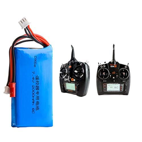 Dinglong Upgrade Batterie für Spektrum DX6e DX6 DX8 Fernbedienung Sender, 7.4V 2000MAH 2S Lipo Akku Professional Batterie Ersatzteil Zubehör