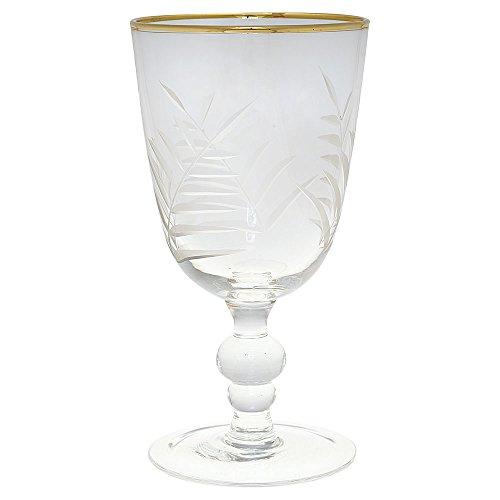 GreenGate Gate Noir - Weinglas, Rotweinglas, Weißweinglas - Kristall mit Schliff und Goldrand - 1 Stück
