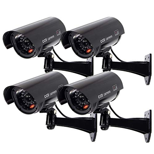 Outdoor Fake Security Camera, Dummy CCTV Surveillance System with Realistic Red...