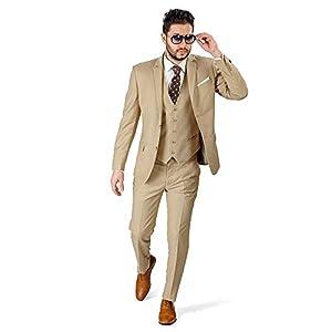 CALVINSUIT メンズスーツ3ピースベージュ花deg結婚式タキシードジャケットパンツベスト