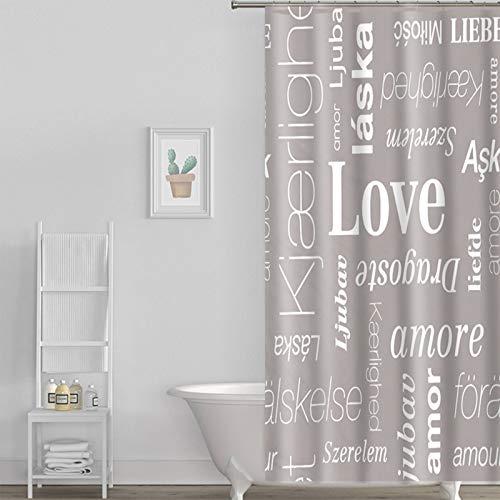 Cortina de ducha translúcida con diseño de letra inglesa y patrón de amor para cortina de baño impermeable translúcida de 180 x 180 cm, más 12 ganchos para cortina de ducha