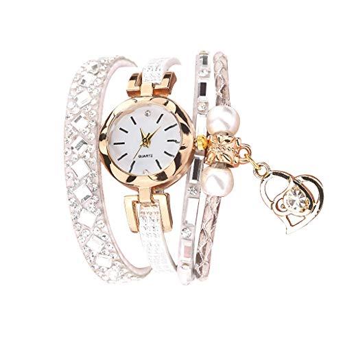 Fenverk Damen Schöne Mode Design Strass Armband,Armbanduhr Damen Mode Frauen Mädchen Analog Quarz Eule Anhänger Damen Kleid Armband Uhr Armbanduhr Armband Uhr Uhren(E#01)
