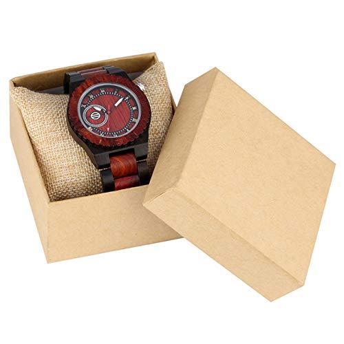 RWJFH Reloj de Madera Relojes para Hombre Reloj de Cuarzo de Madera Natural Cierre Plegable Reloj para Hombre Reloj con números Romanos Relojes de Madera, Modelo 3 con Caja