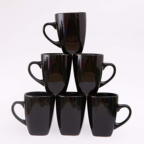 Black Coffee Mugs 10 OZ Ceramic Mug Large Handle Set of 6 Porcelain Ceramic Cups for Coffee Tea Cocoa