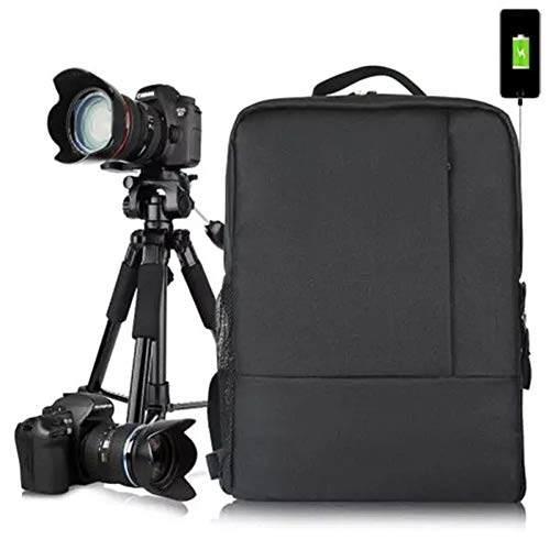 PN-Braes Caja de la cámara Multifuncional Fotografía Impermeable Universal de Nylon DSLR SLR Mochila Cámara Mochila Mochila Bolsa (Color : Black, Size : 265x330x125mm)