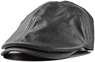 Clearance ! Hot Sale! Charberry Mens Vintage Leather Cap Vintage Leather Beret Cap Peaked Hat Newsboy Sunscreen (Black)