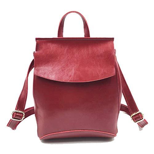 Leder Rucksack Damentasche Casual Reiserucksack Leder Wild College Wind Bag Damentasche,jujube