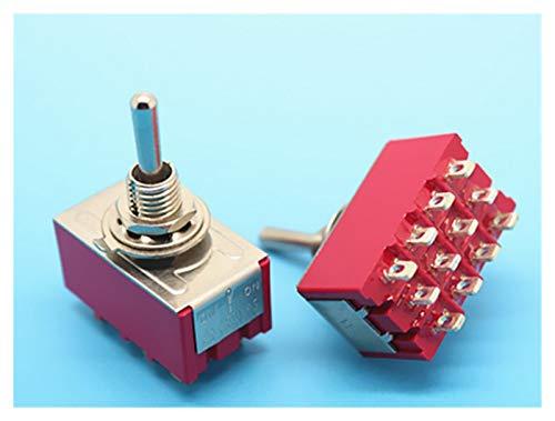 JSJJAYH Interruptor basculante MTTS-403 ON-On-On Mini Mini Miniatura Interruptor de conmutación 3 Posición 4pdt Rocker Switch Accesorios