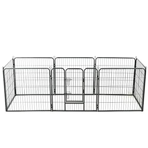 LINWXONGQP Material: Acero con Revestimiento en Polvo Corral para Perros 8 Paneles de Acero 80x80 cm Negro