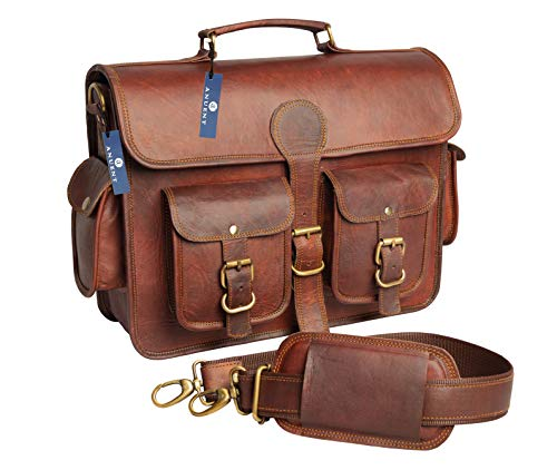 ANUENT Sac & Agrave; Unisex Vintage Leather Bandouli re - Notebook, Books - Made & oacute; & Agrave; Hand, Sturdy and & Quot; The Aged Look for an Authentic Retro Style (Cherry Bag) (B)