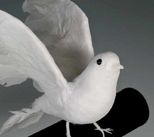 """8"""" Artificial Flocked White Feather Dove-set of 4"""