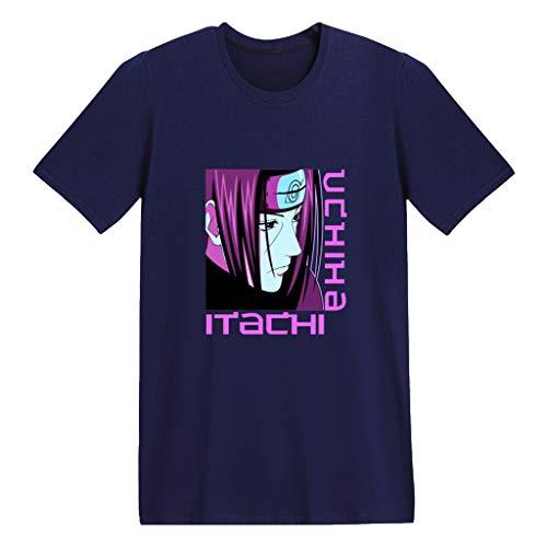 Naruto Camiseta de Hombre Naruto Ropa Camiseta de Manga Corta Naruto para Fanáticos del Anime Japonés Nartuto Cosplay Camiseta Anime (Navy-E,M)