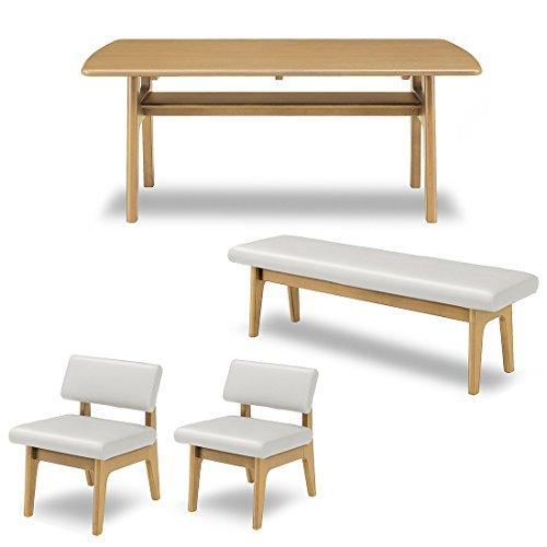 暮らしのデザイン タモ材天然木天板のダイニングテーブルとゆったり座れるダイニングチェア、ベンチの4点セット ライトブラウン