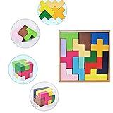 Daxoon Rompecabezas de Madera Tetris Tangram Puzzle 3D Bloques rusos Regalo Educativo para bebés