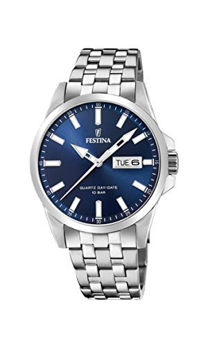Festina Herren Analog Quarz Uhr mit Edelstahl Armband F20357/3
