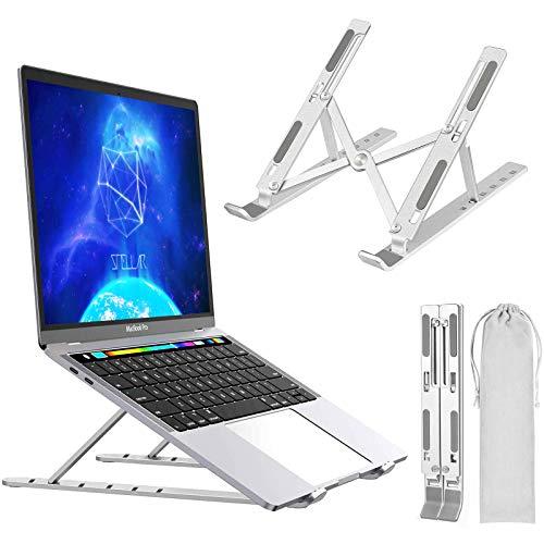 Suporte para laptop, suporte de laptop portátil ajustável, suporte de mesa de liga de alumínio compatível com MacBook PC-Notebook de 10 a 15,6 polegadas (prata)