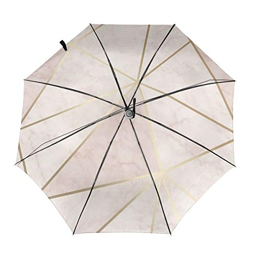 Zara Shimmer Metallic Soft Pink Gold Winddicht Regenschirm Faltschirm Wasserabweisend Teflon-Beschichtung Leicht Starke Winddicht Kompakter Reise-Regenschirm mit automatischem Öffnen Schließen