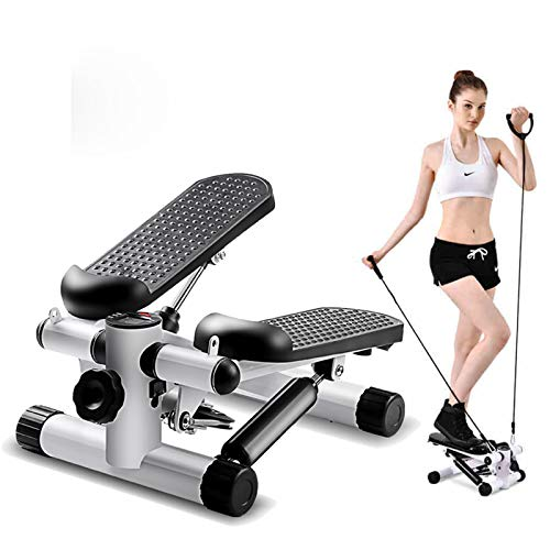 Vinteky Up-Down Stepper, Home Trainer, Mini Stepper Gym Exercise Leg Thigh Toning Workout Fitness Stair Arm Cord Training Machine (White)