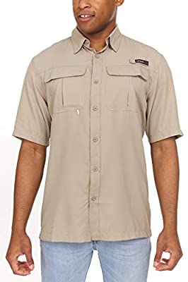Swiss Alps Mens Short Sleeve Lightweight Breathable Outdoor Fishing Shirt Beige X-Large