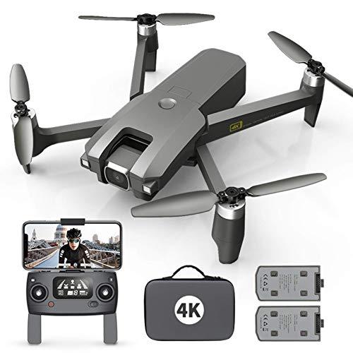 J-Love Drone con cámara para Adultos 4K Full HD FPV Video en VivoGran Angular de120°, retención altitud, Modo sin Cabeza, Selfie Gestos, Funciones waypoints con 2 baterías y Mochila