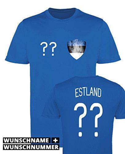 Comedy Shirts - Estland Trikot - Wappen: Klein - Wunsch - Herren Trikot - Royalblau/Weiss Gr. XL