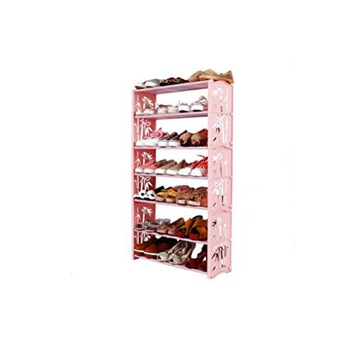 LUYIASI- Kleine Schuhständer Edelstahlmontage Mehrstöckige Kinderschuh Schuhschrank Baby Wirtschaft shoe rack ( Farbe : Pink )