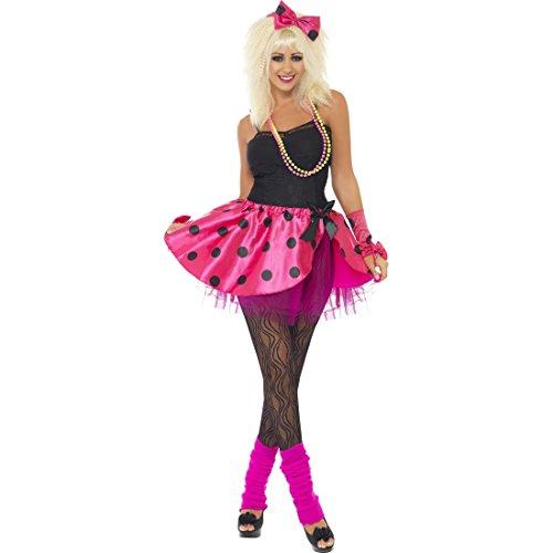 NET TOYS Neon Damenkostüm 80er Jahre Kostüm S 36/38 Popstar Tutu Haarband Armstulpen Retro Party Outfit Vintage Mottoparty Verkleidung Madonna Faschingskostüm Karneval Kostüme Damen Sexy