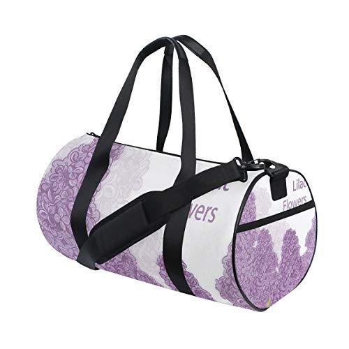 DEZIRO Borsone sportivo con motivo floreale viola lilla