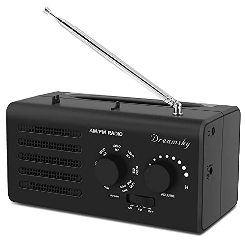 DreamSky AM FM Portable Radio - Battery Operated Radio (2 D Size) Outlet Powered Radio for Home/Outdoor/Emergency, Transistor Radio with Strong Reception Clear Loud Sound, Small Gifts for Senior