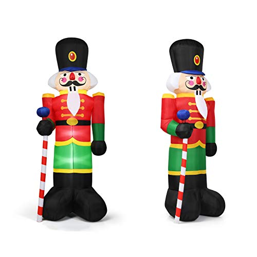 COSTWAY 240CM Aufblasbarer Nussknacker-Soldat, Weihnachtsmann Soldat mit 3 LED-Leuchten, Weihnachtsdekoration inkl. Gebläse und Sandsäcke, für den Innen- und Außenbereich