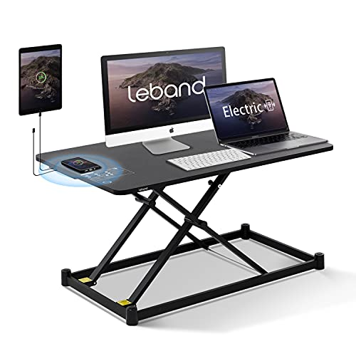 Leband Electric Standing Desk Converter with Wireless Charging, 34'' Standing Desk Adjustable Height, One Touch Stand Up Desk, Ergonomic Tabletop Motorized Sit Stand Desk Riser