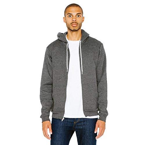 American Apparel - Unisex Flex Fleece Zip Hoodie/Dark Heather Grey, M
