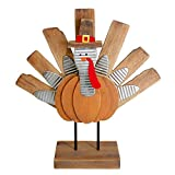 Zcaukya Thanksgiving Turkey Decoration, Wooden Indoor Standing Tabletop Turkey Decor for Home Office Bedroom Kitchen Thanksgiving Harvest Day Decorations