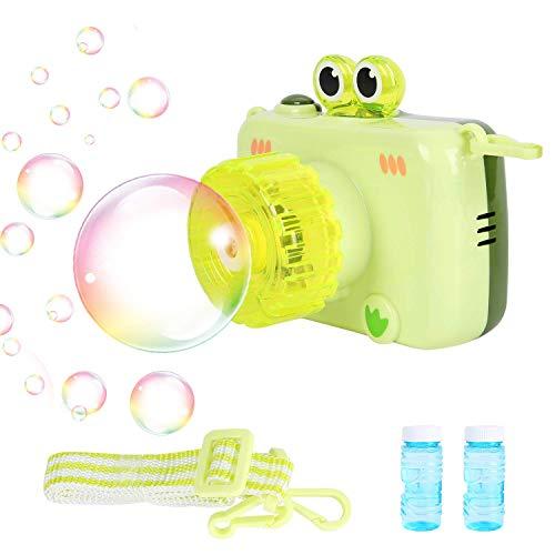 Colmanda Máquina de Burbujas para Niños, Pistola Burbujas con Solución de Jabón, Pistola de Pompas de Jabón Niños, Máquina de Pompas de Jabón para Niños y Adultos (Verde)