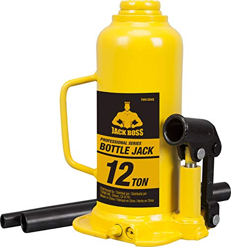 Torin TH91204X JackBoss Hydraulic Welded Bottle Jack: 12 Ton (24,000 lb) Capacity, Yellow