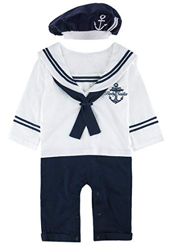 COSLAND Baby Boys' Sailor Romper Outfit Long Sleeve (White, 0-3 Months)