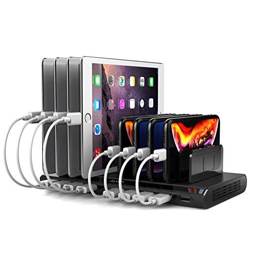 Alxum USB 10 Port Mobile Ladestation für mehrere Geräte, 96W 2.4A Ladestation Organizer mit abnehmbaren Trennwänden für Mobilephones Tablets (Schwarz)