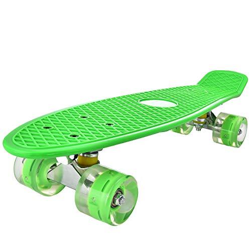 DaddyChild Mini Cruiser Skateboard Retro Komplettboard, 55cm Vintage Skate Board mit Kunststoff Deck und blinkenden LED-Rollen, Cruiser-Board mit LED Leuchtrollen für Erwachsene Kinder Jungen (Green)