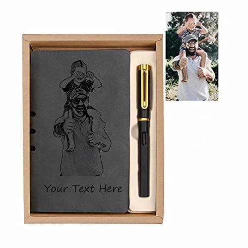 Cuadernos de Diario de Cuero Personalizados, Cuaderno de bocetos de Texto fotográfico Personalizado, Cuaderno de Cuero para Escribir, Cuadernos de Notas de Escritura Recargables, Diarios Graba