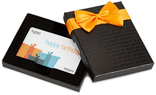 Amazon.com $200 Gift Card in a Black Gift Box (Birthday Presents Card Design)