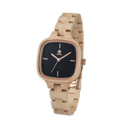 Zeitholz Damen-Holzuhr analog Quarz-Uhr mit Ahornholz-Armband Modell Roßwein