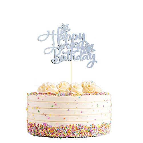 Snowflake Happy Birthday Cake Topper, Frozen Birthday Cake Topper, Winter Wonderland Snow Princess Themed Happy Birthday Cake Topper for Girl and Kids Snow Frozen Theme Party Decoration-Glittery White