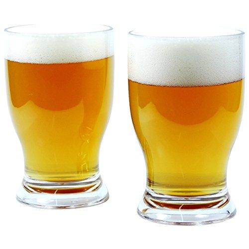 2 x bruchfestes Bierglas ca. 420 ml, Longdrinkglas, Cocktailglas, Saftglas, Gläser Set aus hochwertigem Kunststoff (Polycarbonat), edle Gläser für Camping, Partys (wie echtes Glas)