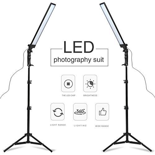 GSKAIWEN LED Leuchte Fotografie Studioleuchte Set Video Fülllicht Dimmbare Leuchte mit Lichtständer, Stative und Tragetasche
