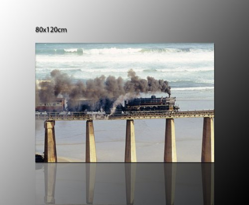 railroad foto's als foto - spieraam muurschildering (Old-Railway_120x80 cm) op echt canvas gespannen - highlight boven uw dressoir - afbeeldingen volledig omlijst met spieraam enorm Uitvoering kunstdruk op canvas. Voordelig incl. frame.