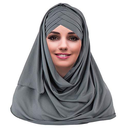 YOFASEN Cappello Musulmano Slouchy - Sciarpe Islamiche da Donna Bellissimo Berretto con Scialle Hijab Foulard, Grigio, Taglia Unica