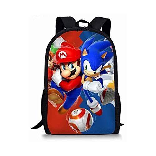 Tutui Sonic Super Mario School Bag 13 pulgadas Mario Bros Sonic Niños Escuela Bolsas Ortopédica Mochila Niños Escuela Niños Niñas Mochila Infantil Dibujos Animados Bolsas