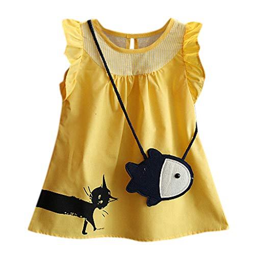 Vestido de niña, riou Vestidos para Bebés Ropa Gato de Dibujos Animados sin Mangas para niños + Bolsa de Peces pequeños con Flores Falda de Playa Vestido