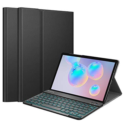 Fintie Tastatur Hülle für Samsung Galaxy Tab S6 10.5 2019 (Kompatibel mit S Pen kabelloser Ladefunktion) - Ultradünn Keyboard Case mit magnetisch Abnehmbarer drahtloser Deutscher Tastatur, (Schwarz)